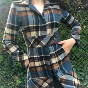 Blue and brown wool button down plaid peacoat